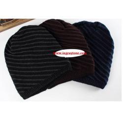 หมวกผ้า หมวกคลุม หมวกไหมพรมสไตล์ฮิพฮอพ ใส่ได้2ด้าน ลายเฉียงและสีล้วน น้ำตาล