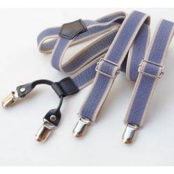 สายรัดกางเกงเอี๊ยมหัวชุบ คลิบ สายยืดหยุ่น กว้าง 2.5cm แบบ Y สีฟ้าเทาหนังดำ