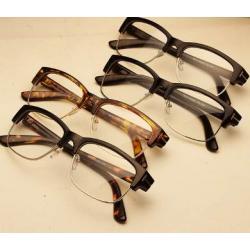 กรอบแว่นตาแฟชั่น ครึ่งกรอบรี แนวๆเรโทร วินเทจ tomf (ดำด้าน ดำเงา ชา กระ)