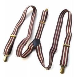 วินเทจ Limited!!สายรัดกางเกงเอี๊ยม ลายทาง สายยืดหยุ่น หัวทองเหลือง กว้าง 2.5cm แบบ Y สีน้ำตาล ดำ