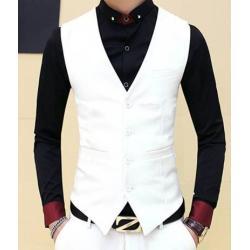 เสื้อกั๊กชาย แฟชั่น กระดุม 5เม็ด Size No.34 36 38 40 42 สีขาว