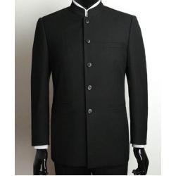 พิเศษ!!แบบกระดุมตามสั่ง!!เสื้อสูทเสื้อคลุมคอจีน คอปีน ราชปะแตน กระดุมดำ Size No.36 38 40 42 44 46 ดำ