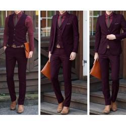 เล็ก+จองราคาพิเศษ !!ชุดเสื้อสูท กางเกงสไตล์อังกฤษ ปกเปิดมาตรฐาน สีแดงเลือดนก Size No.34 36 38 40 42