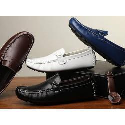 หลากสี!!พรีออเดอร์ รองเท้าloafer หนังเงา รองเท้าคัทชูหนัง แบบเข็มขัด C20 No.38-47 น้ำตาล ฟ้า ดำ ขาว