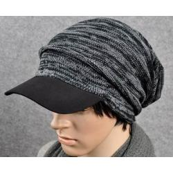 หมวกไหมพรมกันหนาว +หมวกแก๊บมีปีก ลายใหญ่ สีเทา