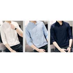 ซื้อคู่ราคาพิเศษ950-!!เสื้อเชิ้ตคอจีนแขนสั้น พับแขน แต่งปกstitch No.34 36 38 40 42 44 สีขาว น้ำเงิน ฟ้า