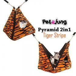 PJ-PYR001-ORTG PetsJunG - Pyramid 2in1 Tiger Stripe บ้านปิรามิด 2in1