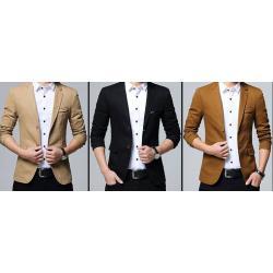 เสื้อสูทลำลองแฟชั่นผู้ชายแต่งอกซ้าย Size No.36 38 40 42 43 น้ำตาล กากี ดำ