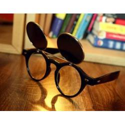 กรอบแว่นตากันแดดแฟชั่น เรโทร วินเทจ กลม แบบคลิบออน พับเปิดปิด (ดำเงา ลายกระ ดำด้าน)