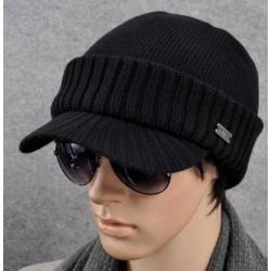 หมวกไหมพรมกันหนาว +หมวกแก๊บมีปีก ใหญ่ สีดำ