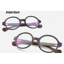 หลากสี!!กรอบแว่นสายตากลม ขาลายไม้กลม ทูโทน No.10 (ดำเงา ดำด้าน)