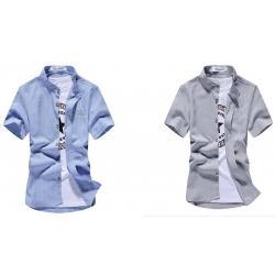 เสื้อเชิ้ตคอจีนแขนสั้น แฟชั่น ตาราง Size No.37 39 41 43 เทา ฟ้า