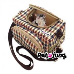 PJ-BAG001-BRSC PetsJunG - Travel Pet Bags กระเป๋าสัตว์เลี้ยง ลายสก็อตสีน้ำตาล