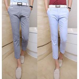 กางเกงสแล็ค 4ส่วน แฟชั่นทรงสลิม กระเป๋าคลิบหนังขาว เอว No.28-29 สีฟ้า