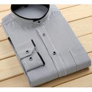 ใหม่ใหญ่พิเศษ!!เสื้อเชิ้ตแขนยาว คอจีน ทรงปกติ ทูโทน size No.38 39 40 41 42 43 44 45 46 47 48 สีขาวขอบดำ ดำขอบลาย ลายทางน้ำเงิน