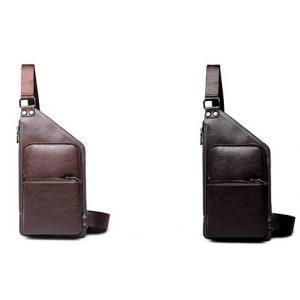 กระเป๋าคาดอก สะพายข้าง กระเป๋ามือถือ หนังตัดเฉียง สีน้ำตาล ดำ