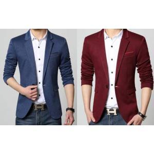 เสื้อสูทแฟชั่นชาย อังกฤษ สลิมฟิต ปกเปิดมาตรฐาน แต่งกระเป๋า สีแดง ฟ้าSize No.34-36 38 40 42 44 46