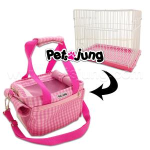 PJ-BAG002-PISC PetsJunG - Travel Pet Bags กระเป๋าสัตว์เลี้ยง (พร้อมกรง) ลายสก๊อตสีชมพู