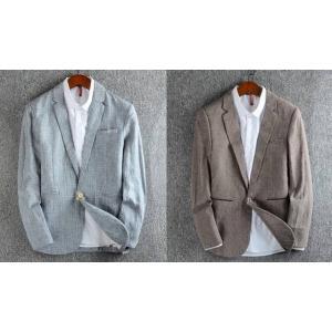 SALE!!เสื้อสูท แฟชั่นชาย สไตล์อังกฤษลายสก็อต ปกเปิด ลินินคอตตอน สีน้ำตาล เทา Size No.36 38 40 42