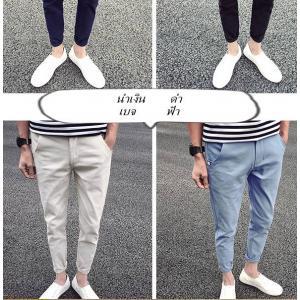 กางเกงสแลคลำลอง 5ส่วนผ้าฝ้าย ขาเล็ก กระดุมซ่อน No.28-36 สีดำ น้ำเงิน ฟ้า เบจ