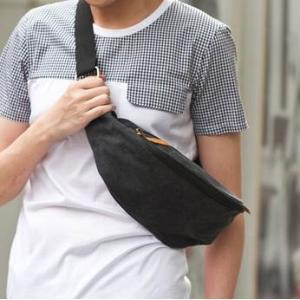 กระเป๋าคาดอก กระเป๋ามือถือ กระเป๋าipad คาดเอว 2 ช่อง2ซิบ ผ้าใบ สีดำ กากี เทา