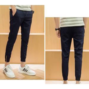 3สีกางเกงขาจั๊ม แนวๆ เอวยืด jogg ผ้าคอตตอน ขาซิบ หน้าร้อนใส่สบาย สีดำ น้ำเงิน เทา size 28-35
