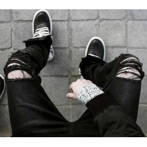 เล็ก+ใหญ่พิเศษ!กางเกงยีนส์ แฟชั่น ขาดเข่าริ้ว สวย เอว No.27-42 ดำ