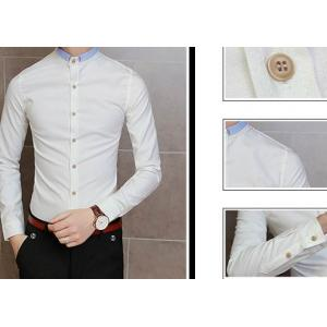 เสื้อเชิ้ตคอจีนแขนยาวแฟชั่น แต่งขอบปกเล็กพิเศษ สีขาว ฟ้า size 36