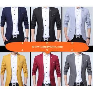 ใหม่!! เสื้อสูทสลิมฟิต กระเป๋าฟลิบ แต่งขาว ดุมลายSize No.34 36 38 40 42 น้ำเงิน เทาเข้ม ดำ เหลือง แดง ฟ้าอ่อน