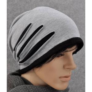 หมวกผ้า หมวกคลุม 3แนว คอตตอน คุณภาพดี ( เทาอ่อน)