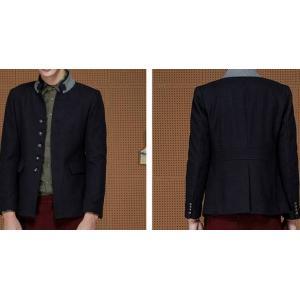เสื้อสูทผู้ชายญี่ปุ่น คอจีนทูโทน แขนยาว กระดุมเรียง Size No.35 37 39 41 ดำ