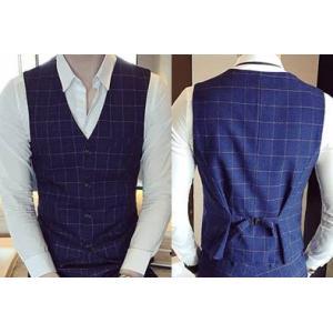 2สีเล็ก+ใหญ่พิเศษ!!เสื้อกั๊กสูท สก็อต กระดุม4เม็ด สีน้ำเงิน ดำ Size No.34 36 38 40 42 44