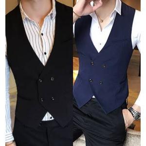 เล็ก ดำ น้ำเงิน!! เสื้อกั๊๊กตัวเล็กสไตล์อังกฤษ แฟชั่นกระดุมคู่4เม็ด Size No.32 34-36-38-40-42 สีน้ำเงิน ดำ