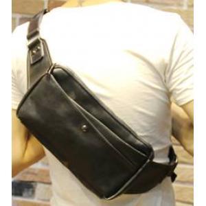 กระเป๋าสะพายข้าง กระเป๋าคาดเอว กระเป๋าคาดอก หนังเก่า วินเทจ เส้นเฉียง สีดำ