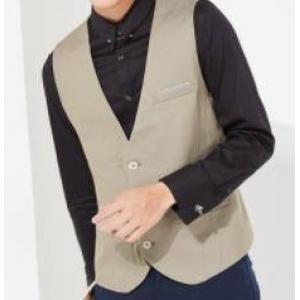 ใหญ่พิเศษ+เสื้อกั๊กสูท 4เม็ด หลังลายทาง Size No.35 36 38 40 42 44 สีครีม