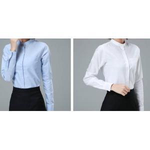 เล็กใหญ่พิเศษ!!เสื้อเชิ้ตแขนยาวผู้หญิง คอจีน กระเป๋า เข้ารูป size No.S-4XL สีขาว ฟ้า เทา