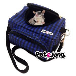 PJ-BAG001-BLSC PetsJunG - Travel Pet Bags กระเป๋าสัตว์เลี้ยง ลายสก๊อตสีน้ำเงิน