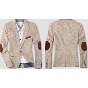 ใหญ่พิเศษ++เสื้อสูทแฟชั่นสก็อต ปะศอกน้ำตาล Size No.37-39-41-43 สีครีม
