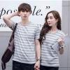 +พร้อมส่ง+ เสื้อคู่รักเกาหลี แฟชั่นคู่รัก ชายหญิง เสื้อยืดคอกลม ลายริ้ว สีเทาสลับขาว
