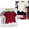 เสื้อแฟชั่นสวยๆ เสื้อผ้าฮานาโกะ สีแดงเลือดหมู ดีไซน์เป็นหยักๆช่วงเอว แต่งขอบสีขาว แบบสวยน่ารักมากๆค่ะ