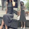 เสื้อผ้าแฟชั่นสไตส์เกาหลี เดรสยาวแขนกุด ลายริ้วสีดำขาว +พร้อมส่ง+