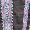 ผ้าปักมือผืนยาว โทนสีม่วงชมพู ลายเล็ก+ลายใหญ่