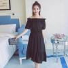 เสื้อผ้าแฟชั่นสไตส์เกาหลี เดรสเกาะอก สีดำ แต่งจั้มเอว +พร้อมส่ง+