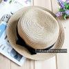 หมวกแฟชั่นทรงขนมเค้ก คาดริบบิ้นดำ : สีเบจ MN014