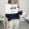 เสื้อแขนยาวแฟชั่นพร้อมส่ง เสื้อแขนยาวแต่งสีขาวสลับกรม แต่งสกรีนตากเสื้อ +พร้อมส่ง+