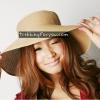 หมวกแฟชั่นเกาหลี หมวกกันแดดทรงปีกกว้าง : สีครีม Natural MN004