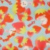 ผ้าคอตตอนลินิน ญี่ปุ่นลายกระต่าย Mofy กับ สตรอเบอรี่ สีฟ้าสดใส ผ้าเนื้อหนา นิ่ม เหมาะกับงานผ้าทุกชนิด สำเนา