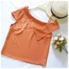 เสื้อแฟชั่นผ้าฮานาโกะ (สีส้มอิฐ) ปาดไหล่ข้างเดียว ตัดแต่งผ้าช่วงอกเก๋ๆ เพิ่มสายเดี่ยวเพื่อความมั่นใจให้ลุคสวยเปรี้ยว