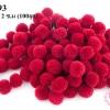 ปอมปอมไหมพรม สีแดงเข้ม 2 ซ.ม (100ลูก)