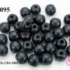 ลูกปัดไม้ทรงกลม สีดำ 16 มิล (1ขีด/100กรัม)